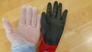 ビニール手袋ゴム手1